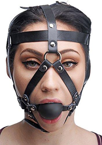 Master Series Kopfgeschirr aus Leder mit Ballknebel
